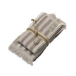 Guest + hand towel STRIPES 38x50 + 50x110 NATURAL