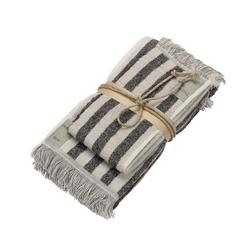 Guest + hand towel STRIPES 38x50 + 50x110 GRAY