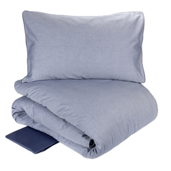 Duvet cover set OXFORD-IT DOUBLE-BLUE