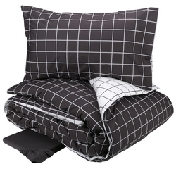 Duvet cover set CHEQUERED -IT SINGLE- grey