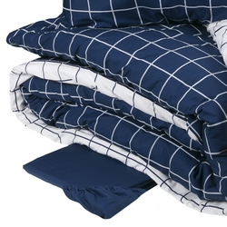 Duvet cover set CHEQUERED -IT DOUBLE- BLU