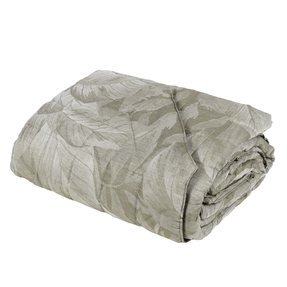 FOLIAGE Quilted bedspread - IT QUEEN - green