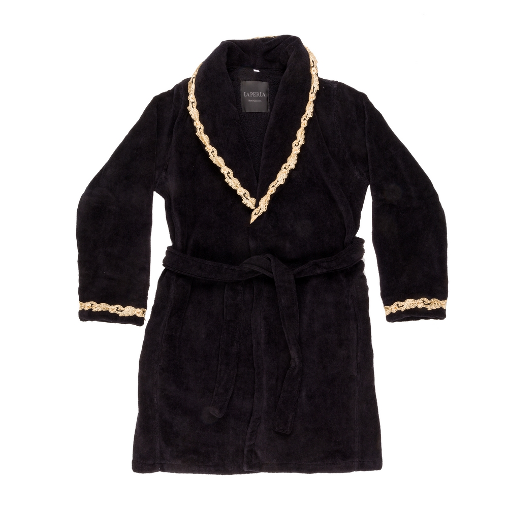 PETIT MAISON BATHROBE-S-BLACK+ BLACK SAND