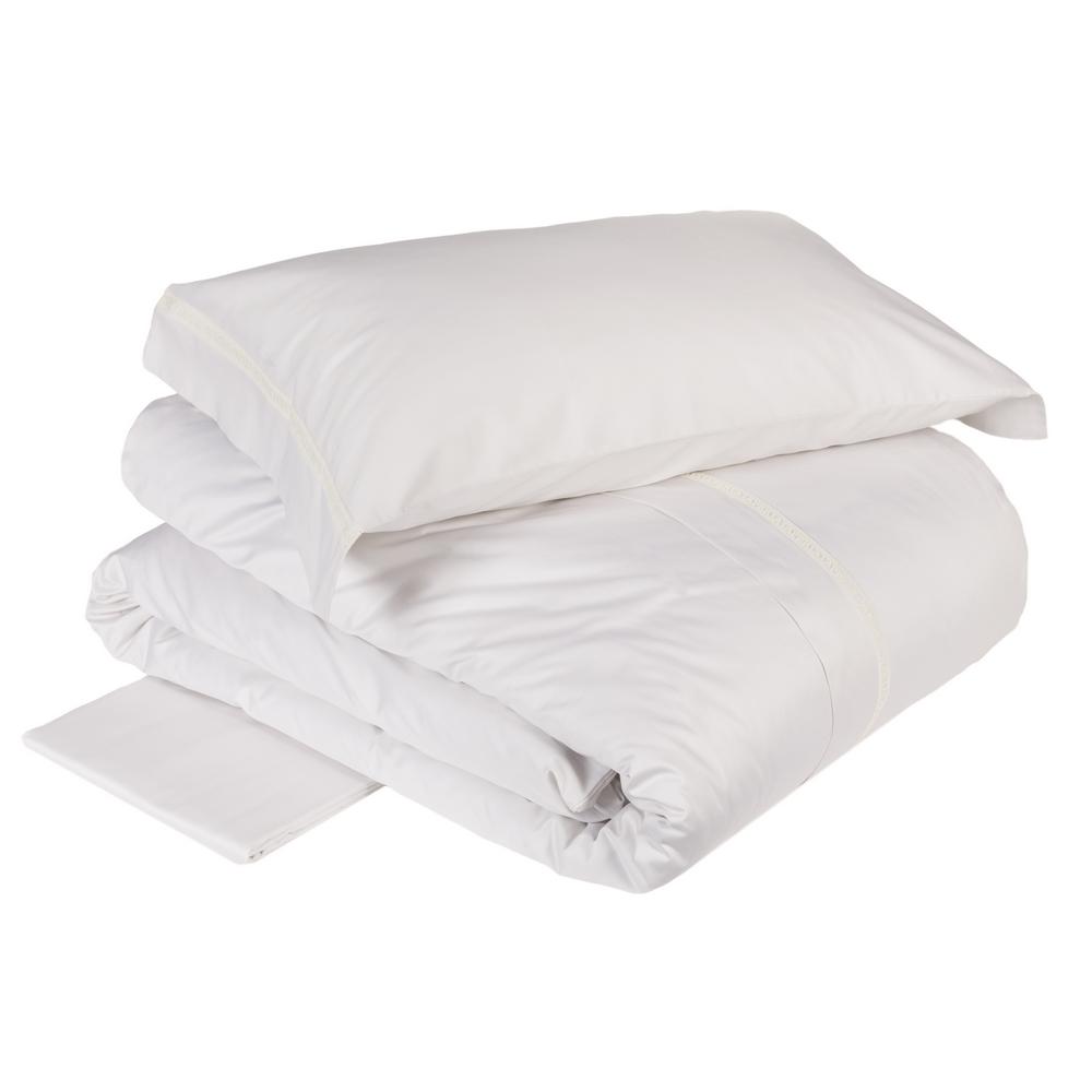 Duvet cover set MACRAME' - Queen-white silk