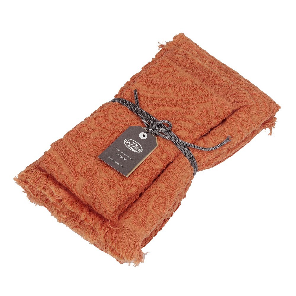 DAFNE Guest and hand towel set (1+1) ORANGE