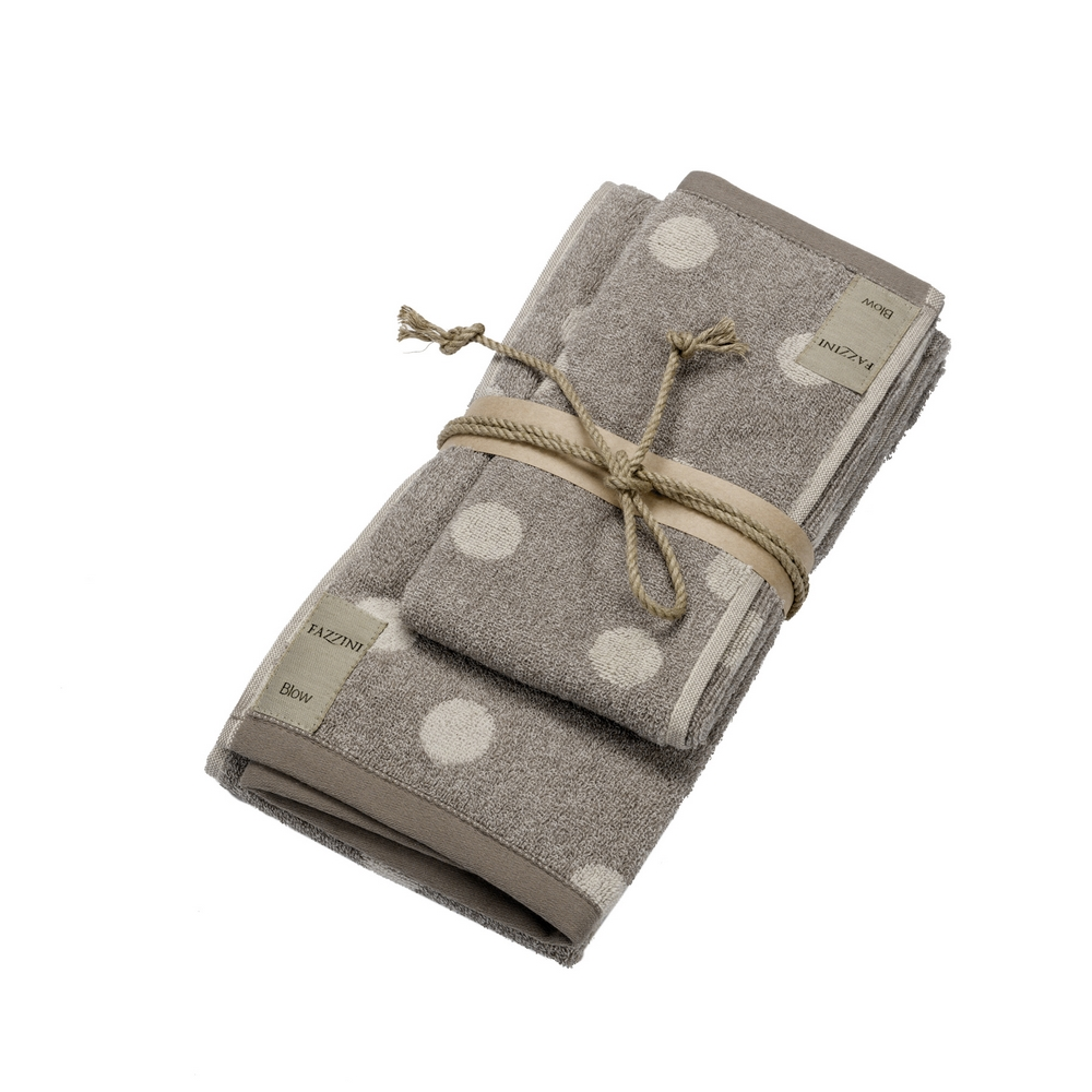 Guest + hand towel POLKA DOTS 38x50+50x110 NATURAL