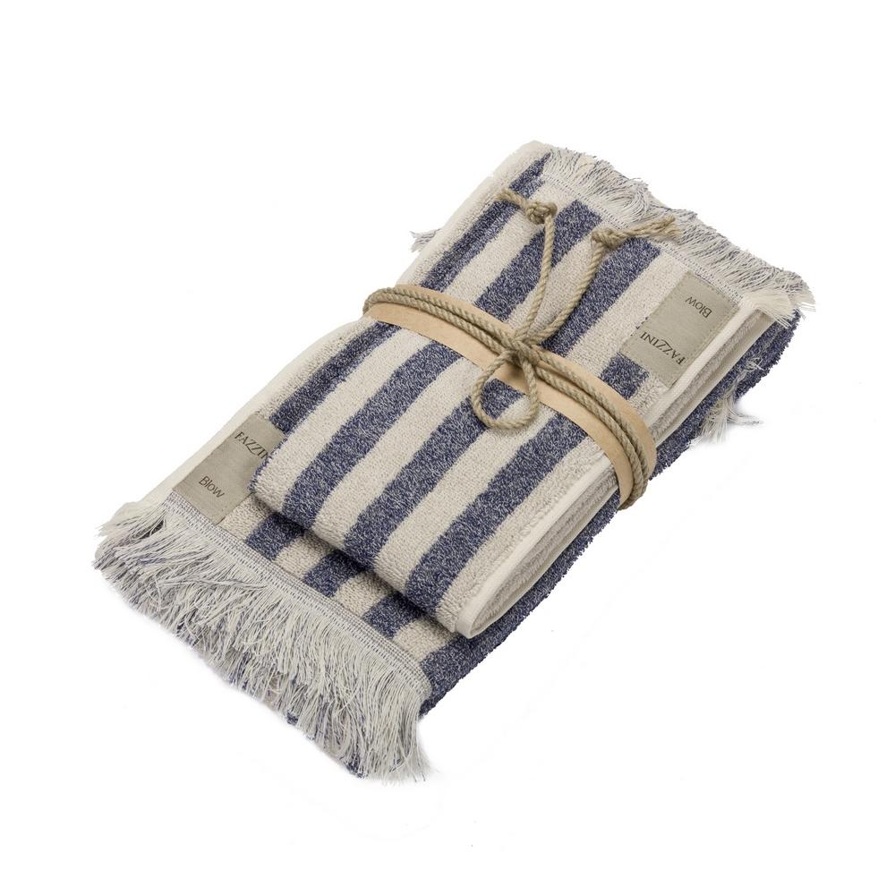 Guest + hand towel STRIPES 38x50 + 50x110 BLUE