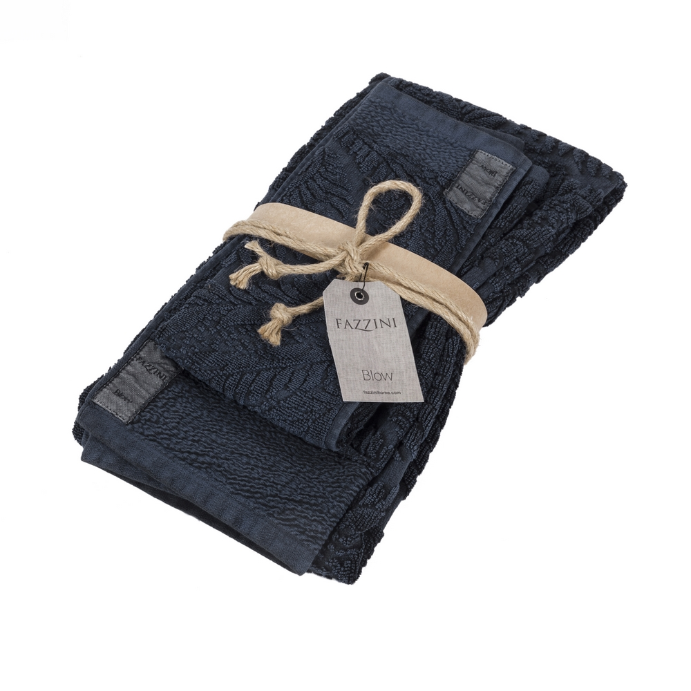 FUNNY BLACK set 2 towel-38X50 e 50x110-BLUE