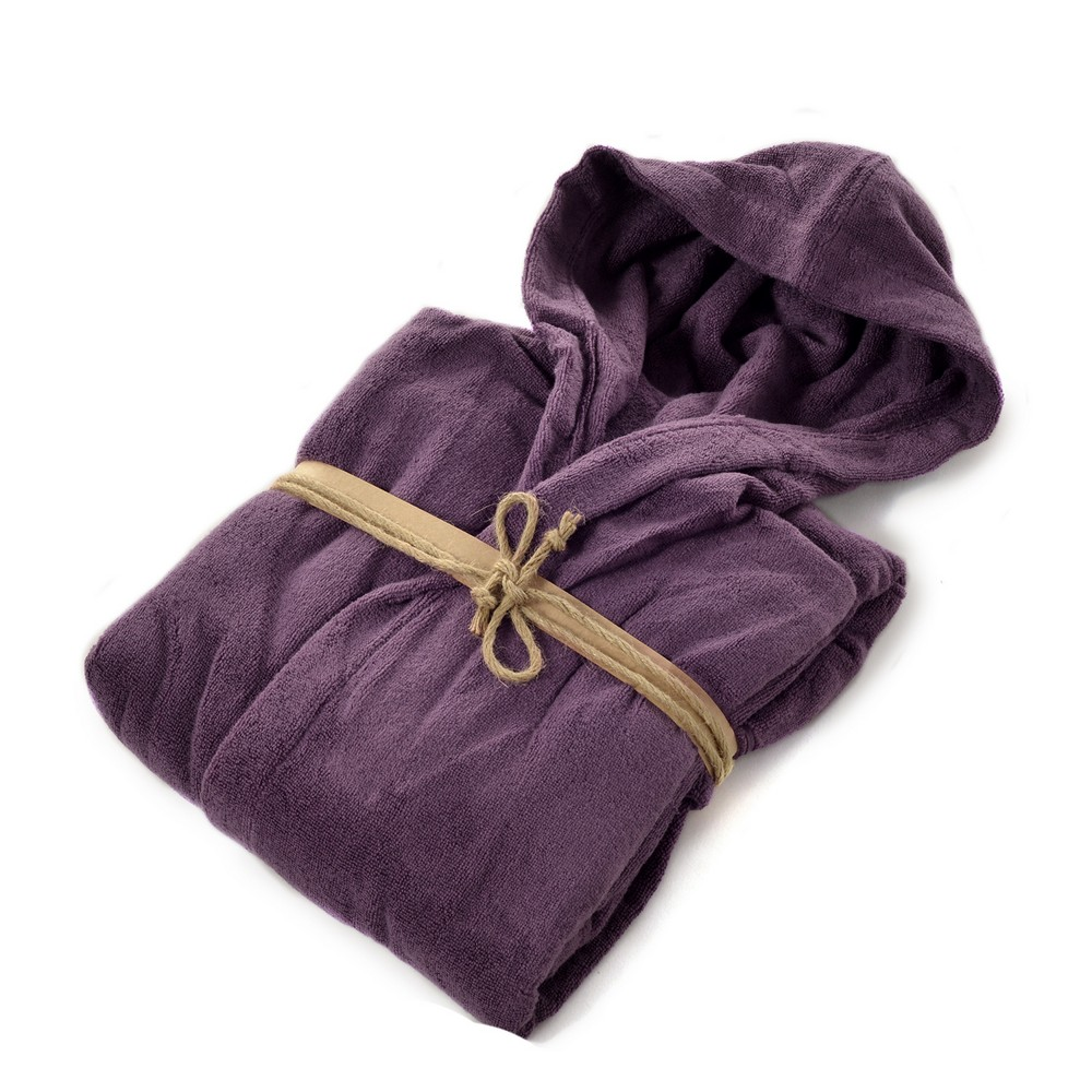 COCCOLA Hooded microcotton bathrobe  MELANZANA L