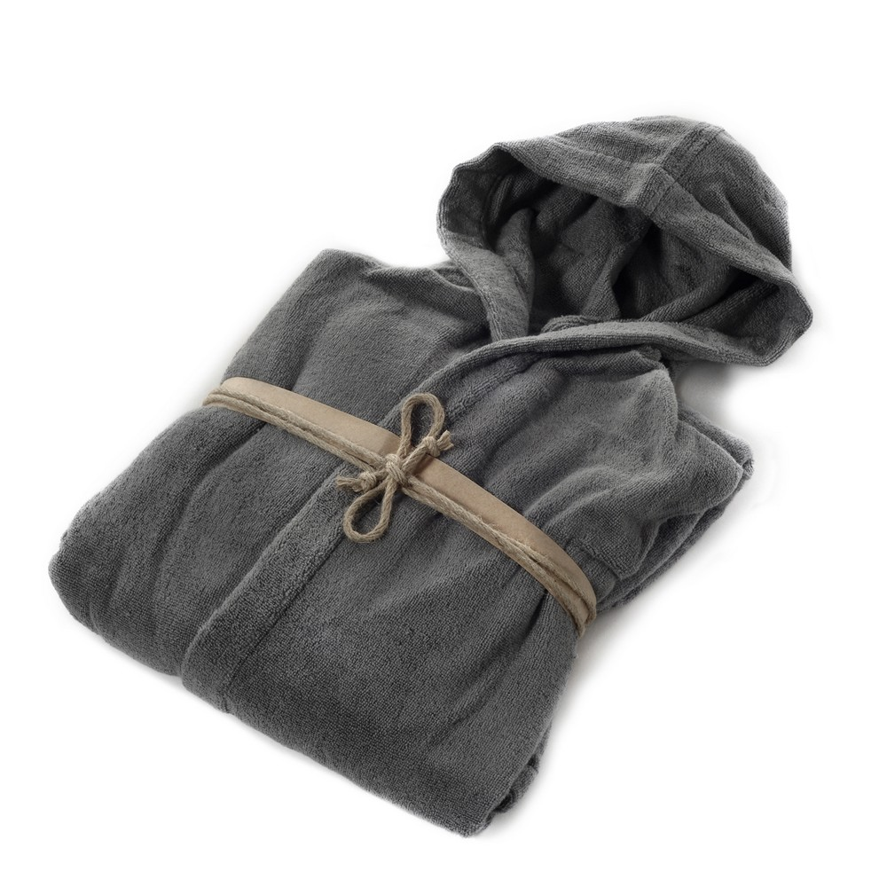 COCCOLA Hooded microcotton bathrobe  PIOMBO L