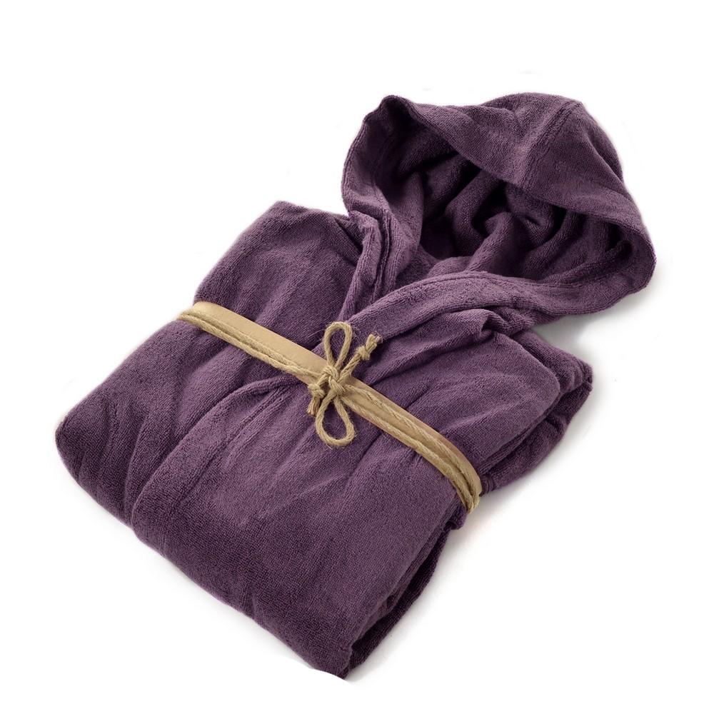 COCCOLA Hooded microcotton bathrobe  MELANZANA M