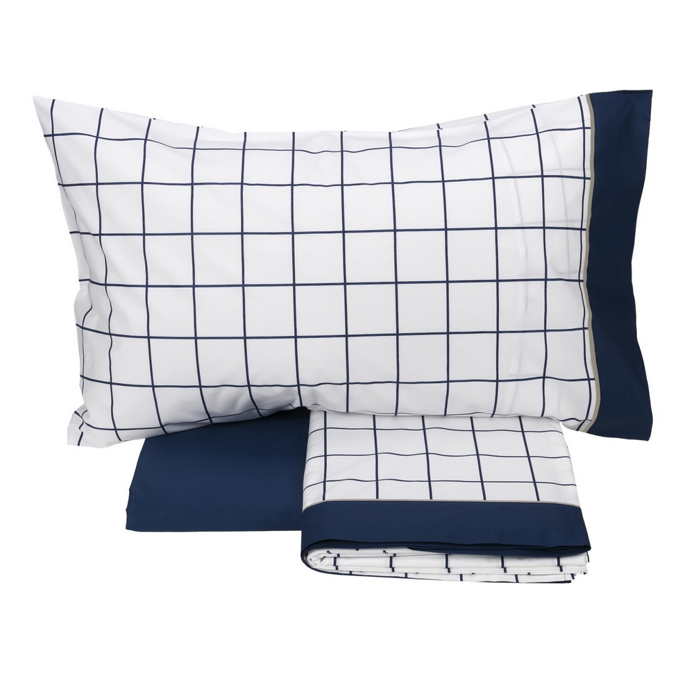 Bedding set CHEQUERED- IT SINGLE -BLUE